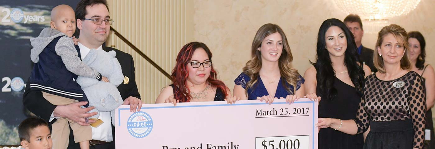 Family receiving check